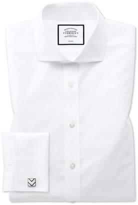 Charles Tyrwhitt Classic Fit White Non-Iron Poplin Spread Collar Cotton Dress Shirt Single Cuff Size 15/34
