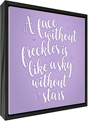 Camilla And Marc Feel Good Art A Face Freckles Is Like a Sky without Stars Contemporary Black Wooden Framed Canvas, Wood, Lilac, 55 x 55 x 3 cm
