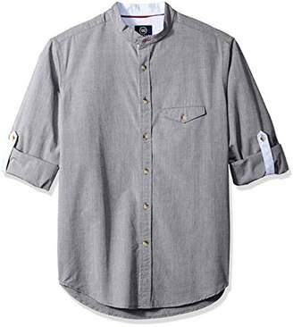 Badger Smith Men's Cotton Melange Chambray Slim Fit Banded Collar Shirt L