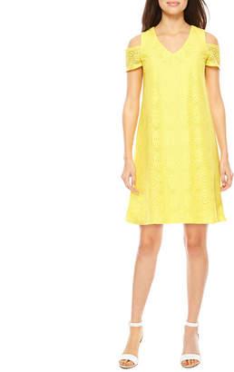 R & K Originals Short Sleeve Cold Shoulder Lace Shift Dress