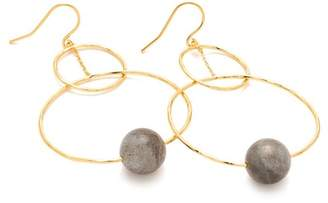 Gorjana 18K Gold Plated Labradorite Interlocking Bead Hoop Drop Earrings