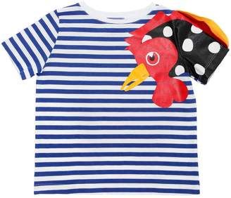 Stella Jean Rooster Striped Cotton Jersey T-Shirt