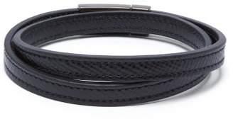 Prada Double Wrap Leather Bracelet - Mens - Black