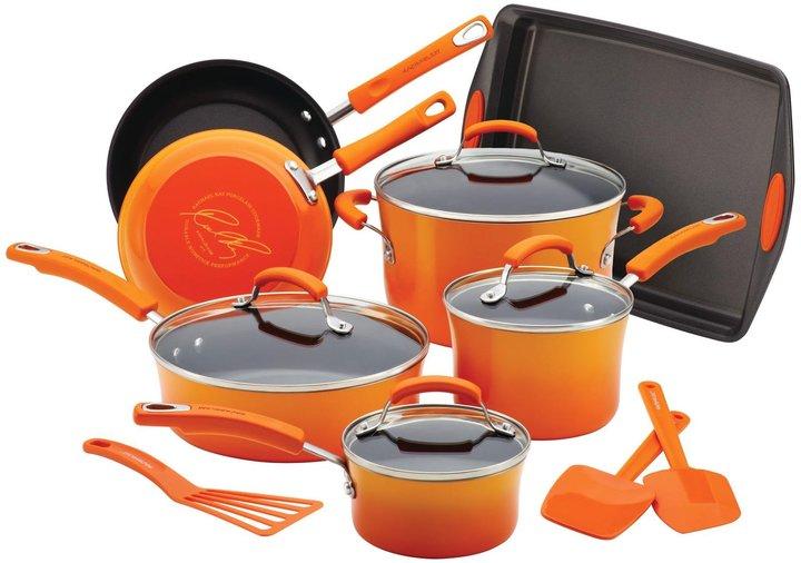 Rachael Ray Porcelain Nonstick Cookware, Bakeware and Tools Set - Orange Gradient - 14 pc