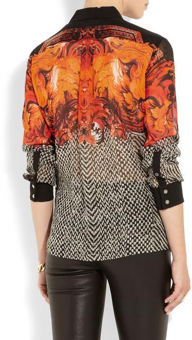 Roberto Cavalli Printed silk-georgette shirt