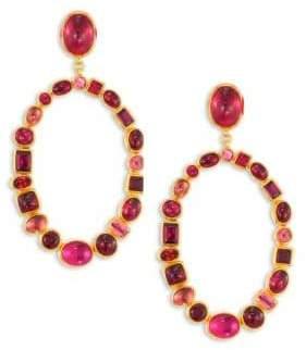 Gurhan Amulet Hue Large Multi-Stone& 24K Yellow Gold Drop Earrings