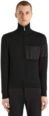 Prada Zip-Up Wool Blend & Nylon Sweater
