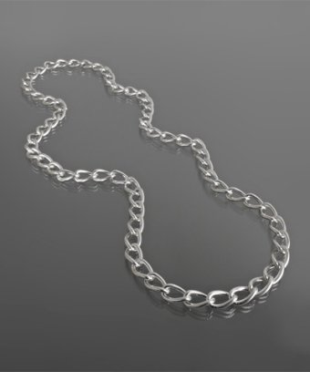 M+J Savitt silver twisted link long necklace