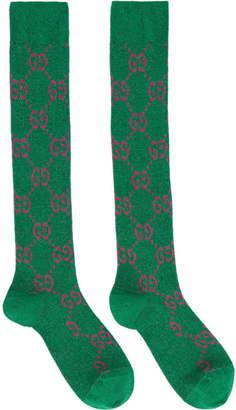 Gucci Green and Pink GG Supreme Socks