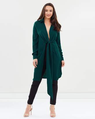 Missguided Hammered Twist Front Longline Shirt