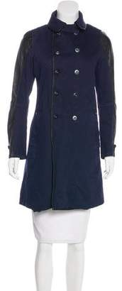 G Star Leather-Trimmed Knee-Length Coat