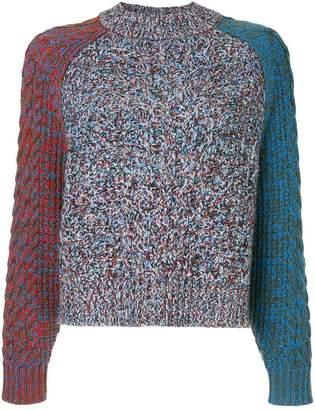 Jil Sander Navy colour block turtleneck jumper