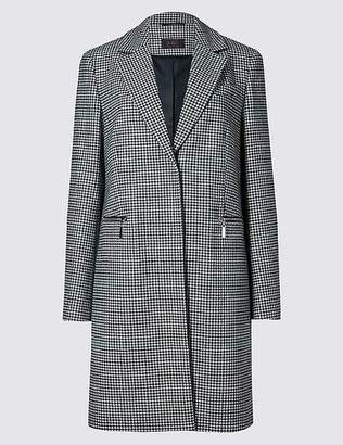 Marks and Spencer Wool Blend Checked Coat