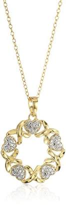 Xo 18k Gold Plated Sterling Silver Diamond Accent Two Tone Heart Circle Pendant Necklace