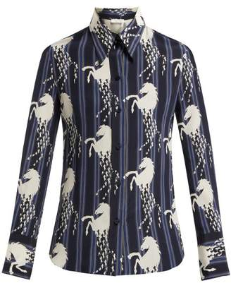 Chloé Little Horse Print Silk Crepe Shirt - Womens - Blue Multi