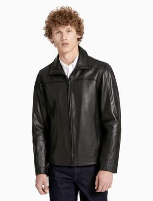 Calvin Klein wing collar leather jacket