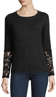 Neiman Marcus Crochet-Cuff Cashmere Crewneck Sweater