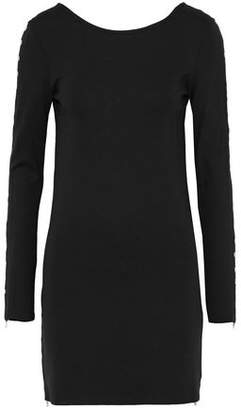 McQ Eyelet-Embellished Stretch-Knit Mini Dress