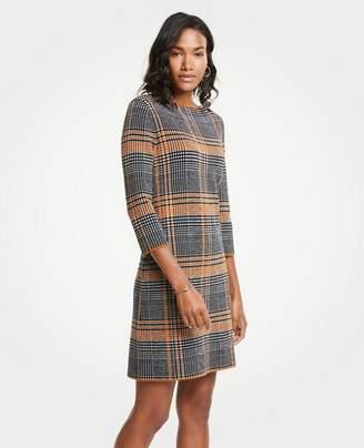 Ann Taylor Petite Plaid Sweater Shift Dress