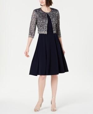 Jessica Howard Petite Dress & Metallic Lace Jacket