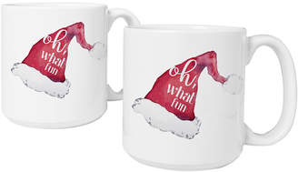 Cathy's Concepts Cathys Concepts Set Of 2 Oh What Fun Santa Hat 20 Oz. Large Coffee Mugs