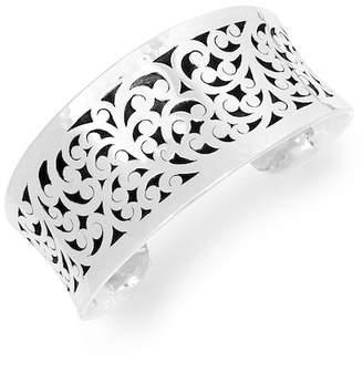 Lois Hill Sterling Silver Medium Cutout Hammered Border Cuff Bracelet