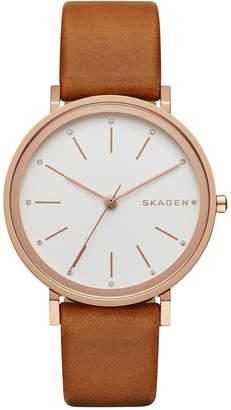 Skagen Women's Hald Light Brown Leather Strap Watch 34mm SKW2488