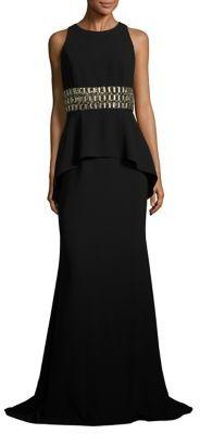 Carmen Marc Valvo Crepe Peplum Gown $1,075 thestylecure.com