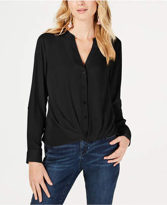 INC International Concepts I.n.c. Twist-Front Button-Up Top
