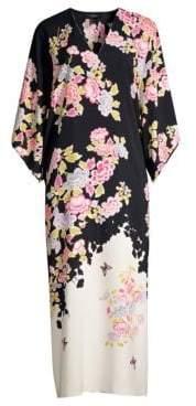 Natori Women's Gardenia Floral Caftan - Black - Size XS