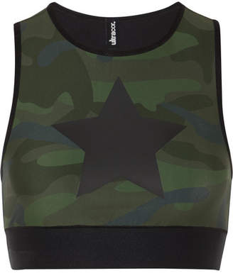 Ultracor - Level Knockout Appliquéd Camouflage-print Stretch Sports Bra - Army green