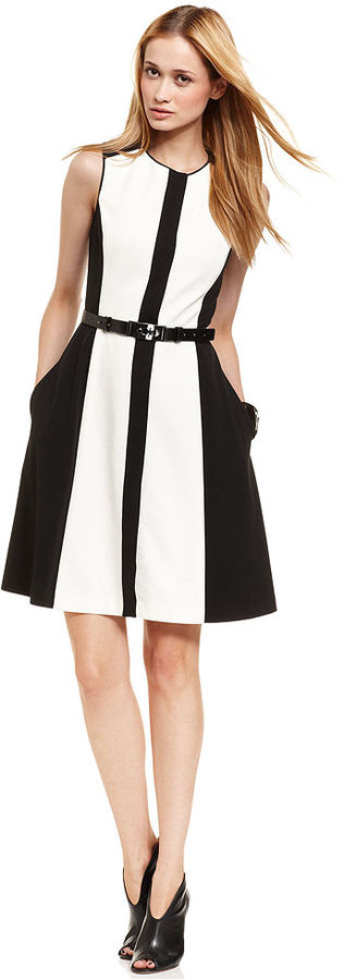 Vince Camuto Dress, Sleeveless Belted Colorblocked
