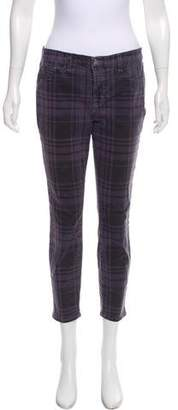 J Brand Plaid Mid-Rise Skinny Jeans