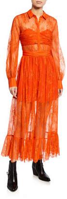 Self-Portrait Floral Fine Lace Midi Dress