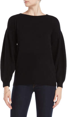 Vertical Design Cashmere Pleated Volume Sleeve Sweater