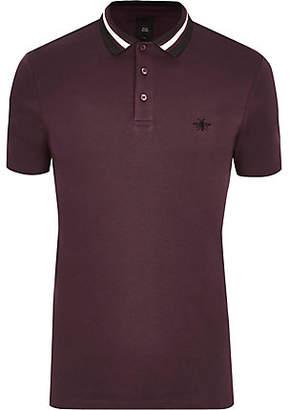 River Island Burgundy slim fit striped collar polo shirt