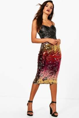 boohoo Ombre Sequin Midi Skirt