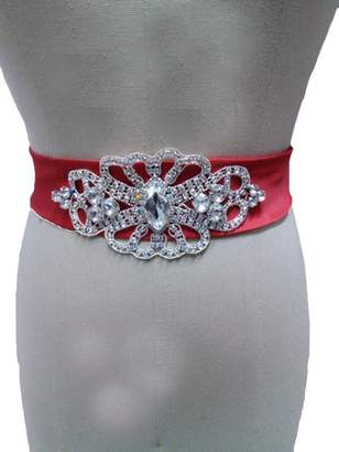 Rosemary Women's Shiny Crystal Bridesmaid Bridal Sashes Wedding Dress Belts