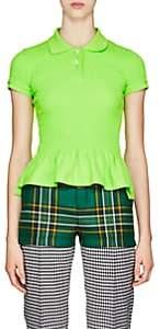 Balenciaga Women's Smocked Cotton Piqué Polo Shirt-Green