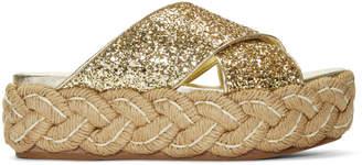 Miu Miu Gold Glitter Criss Cross Raffla Platform Sandals