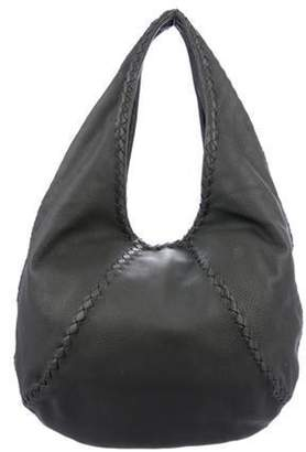 Bottega Veneta Intrecciato-Trimmed Leather Hobo Grey Intrecciato-Trimmed Leather Hobo