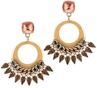 Halo & Co Fan Fare Earrings With Muted Dusky Pink Crystals In Antique Gold Tone