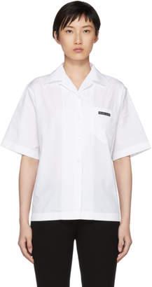 Prada White Poplin Logo Shirt