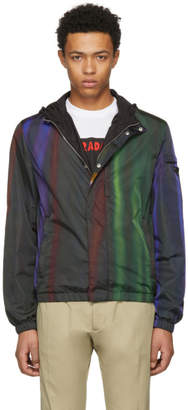 Prada Black and Multicolor Hooded Zip Jacket