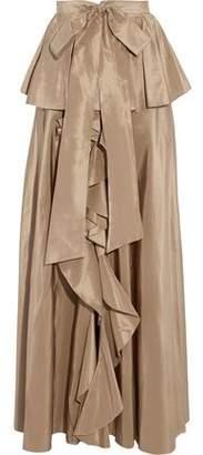 Sachin + Babi Agra Ruffled Silk-Taffeta Peplum Maxi Skirt