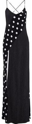 Michelle Mason Paneled Polka-Dot Silk Maxi Slip Dress
