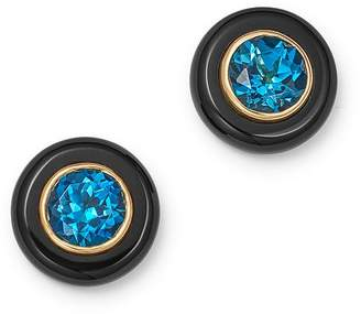 Bloomingdale S London Blue Topaz Black Onyx Stud Earrings In 14k Yellow Gold 100
