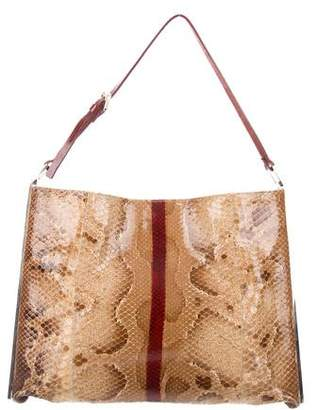Fendi Python Leather-Trimmed Tote