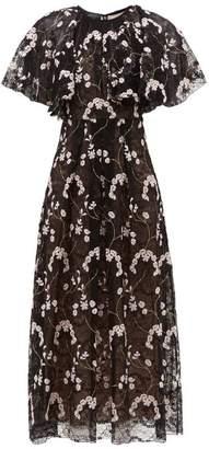 Giambattista Valli Floral Embroidered Chantilly Lace Dress - Womens - Black Multi