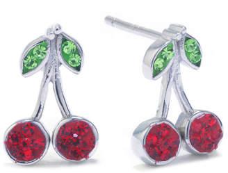 SILVER TREASURES Silver Treasures Multi Color 12mm Cherries Stud Earrings